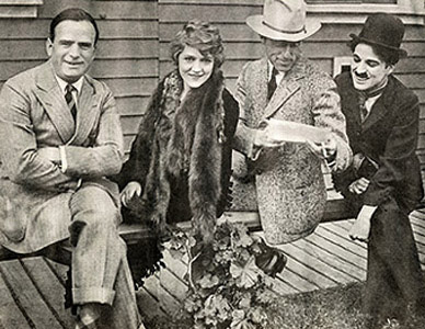 United Artists founders (L-R) Douglas Fairbanks, Mary Pickford, D.W. Griffith and Charlie Chaplin