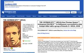 THE GERMAN SPY ON MYSPACE, The Central Project Of Fred Vidal, PhD, ScreenWriter In HOLLYWOOD.