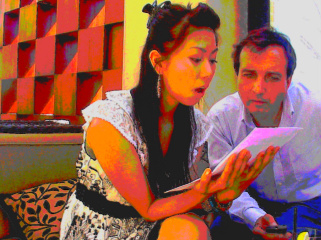 Fred Vidal, PhD Began the Auditions for GERMAN SPY and PARALLEL PEOPLE, Tuesday April 21, 2009 at the Hotel CENTURY PLAZA. On The Picture, Fred with The Singer-Actress Sawani Shinohara.
