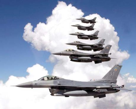 US Air Force F-16 Fighting Falcons: The Symbol of our Country, ready to fight the enemy when necessary, inspiration of our battle against the economic crisis. From the Air to the Air!!!