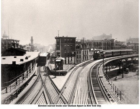 The Elevated Railroad At Chatham Square, 1920.