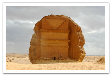 Qasr Al Farid, Saudi Arabia, is 'the unique'. A tomb has this name because it was cut into this single huge rock. It is unique for architectural element obviously. Velvet Eyes took a picture of it for his personal museum.