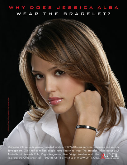Jessica Alba is The Main Treasure Of Our Time Frame Hollywood 1, on the Picture promoting Until There's A Cure Foundation's Bracelet.