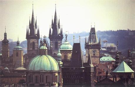 The rooftops and spires of Prague, one of Europe's most beautiful cities.