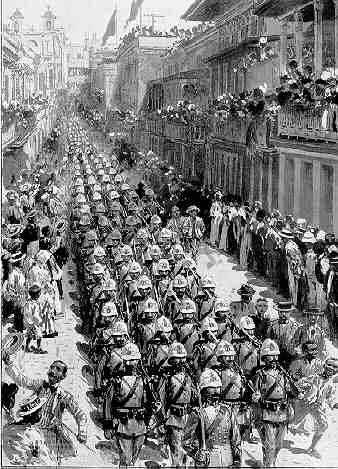 Print of Spanish soldiers in Puerto Rico marching through the streets of San Juan at the start of the Spanish-American War in 1898.