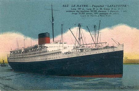 The Lafayette, A Ship On The Ocean For A Huge Trip all Around The History Of The United States And France, From Le Havre To New York. It was In The XXe Century.