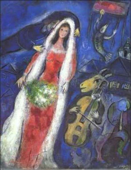 Marc Chagall - La Mariee (1927). Jonathan and Valentine Were in Israel In The 1950's Because They Wanted To Visit The Country And Meet The People Who Built It As An Eternal Dream On Earth Like Their Love.