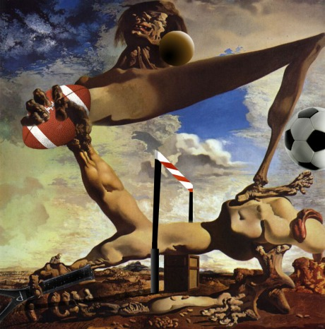 Salvador Dali Masterpiece About Football. Velvet And Leather Did Not Know That The Rules Of Soccer Are Not The Football Ones But Closer To Rugby.