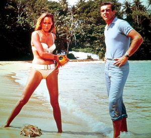Ursula Andress and Sean Connery in Dr. No! The best James Bond seen in the 1960's by the whole universe of the moviegoers worldwide, worldwide!