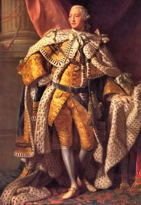 Portrait by Allan Ramsay, 1762. George III (George William Frederick; 4 June 1738[1] – 29 January 1820) was King of Great Britain and King of Ireland from 25 October 1760 until the union of these two countries on 1 January 1801, after which he was King of the United Kingdom of Great Britain and Ireland until his death. (Wikipedia).