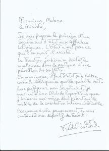 Ma lettre aux ministres autographée.