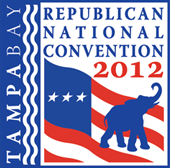 The Official logo for the 2012 GOP Presidential Convention scheduled in Tampa, Florida, Times Forum from August 27-30, 2012, for 2,286 delegates and 2,125 alternate delegates. We will be there.