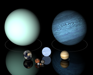 Uranus (left), Neptune (right), Earth (lower left), Sirius B (lower center), and Venus (lower right). The smaller planets and dwarf planets below, in decreasing size are Mars and Mercury, the Moon, Pluto, and Haumea. All are to scale. Derived from Paul Stansifer's POV-Ray source files, by 84user, using w:en:POV-Ray, w:en:Celestia, and w:en:IrfanView.
