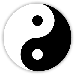 The Yin and Yang Symbol with white representing Yang and black representing Yin. Author: Klem. 7 December 2007.