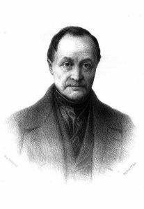 Lithographie d'Auguste Comte par Tony Touillon. A relire, le fondateur d'une église sur le sujet du peuple à conquérir (par la musique entre autres).