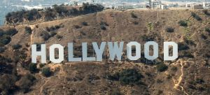 The Hollywood Sign, shot from an aircraft at about 1,500' MSL. Author: Jelson25.