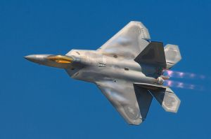 Lockheed Martin F-22A Raptor. Picture author: Rob Shenk from Great Falls, VA, USA. The Lockheed Martin/Boeing F-22 Raptor is a single-seat, twin-engine fifth-generation supermaneuverable fighter aircraft that uses stealth technology.