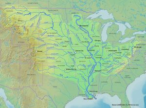 The Mississippi River with the names of the towns. Author: Shannon; Source: of course, Wikipedia.