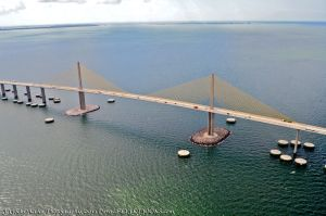 The Sunshine Skyway Bridge crosses Tampa Bay, and is one of the largest bridges in the state. The Bob Graham Sunshine Skyway Bridge captured in an aerial photo October 6, 2011. Author: USRaven.