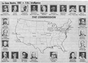 La Cosa Nostra, 1963. F.B.I. Intelligence. Federal Bureau of Investigations chart of American Mafia Bosses across the country in 1963