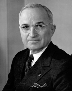Harry S. Truman (1884 – 1972), 1945 – 1953 the thirty-third President of the United States.
