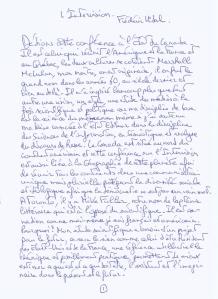 Dédions cette conférence à l'Etat du Canada. Txte manuscrit de la conférence de Frédéric Vidal consacrée à l'Intervision.