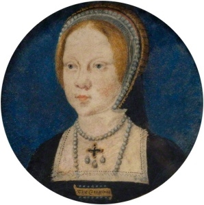 Portrait miniature of Mary Tudor, later Mary I of England. Attributed to Lucas Horenbout (1495–1544).