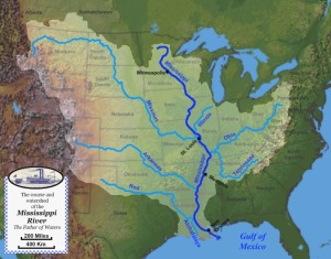 Map of the course, watershed, and major tributaries of the Mississippi River. The origins of the Greater Lousiana, from France at that time. A lot of States are interested. From tradition to modernity. Author: Jon Platek.