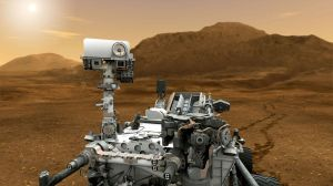 This artist concept features NASA's Mars Science Laboratory Curiosity rover, a mobile robot for investigating Mars' past or present ability to sustain microbial life. Image Credit: NASA/JPL-Caltech.