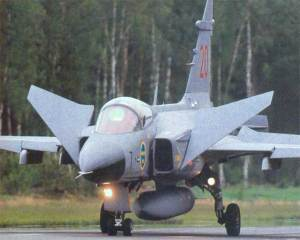 SAAB AJS 37 Viggen fighter jet on display at the Swedish Air. Mike Fuller's Sky Of Sweden, a Novel about Military Wings.