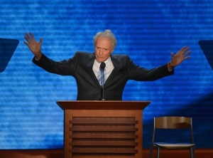 Actor-director Clint Eastwood addresses the audience at the Tampa Bay Times Forum in Tampa, Florida, on August 30, 2012 on the final day of the Republican National Convention (RNC). The RNC will culminate later today with the formal nomination of Mitt Romney and Paul Ryan as the GOP presidential and vice-presidential candidates in the US presidential election.   AFP PHOTO Stan HONDA        (Photo credit should read STAN HONDA/AFP/GettyImages)