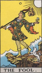 The Fool (Tarot for The French Cop™). Number 0. Tarot card from the Rider-Waite-Smith deck. Published 1909. Author: Pamela Coleman Smith.