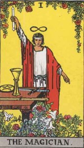 The Magician (Tarot for The French Cop™). Number 1. Tarot card from the Rider-Waite-Smith deck. Published 1909. Author: Pamela Coleman Smith.