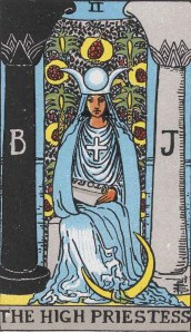 The High Priestress (Tarot for The French Cop™). Number 2. Tarot card from the Rider-Waite-Smith deck. Published 1909. Author: Pamela Coleman Smith.
