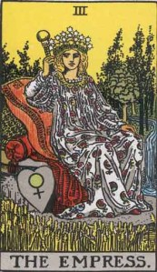 The Empress (Tarot for The French Cop™). Number 3. Tarot card from the Rider-Waite-Smith deck. Published 1909. Author: Pamela Coleman Smith.