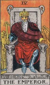 The Emperor (Tarot for The French Cop™). Number 4. Tarot card from the Rider-Waite-Smith deck. Published 1909. Author: Pamela Coleman Smith.