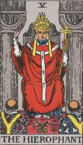 Hierophant (Tarot for The French Cop™). Number 5. Tarot card from the Rider-Waite-Smith deck. Published 1909. Author: Pamela Coleman Smith.