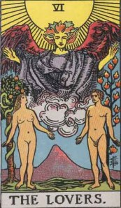 Lovers (Tarot for The French Cop™). Number 6. Tarot card from the Rider-Waite-Smith deck. Published 1909. Author: Pamela Coleman Smith.