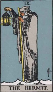 The Hermit (Tarot for The French Cop™). Number 10. Tarot card from the Rider-Waite-Smith deck. Published 1909. Author: Pamela Coleman Smith.