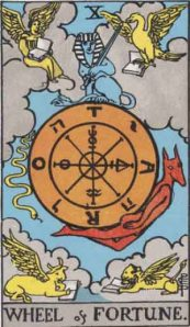 Wheel of Fortune  (Tarot for The French Cop™). Number 11. Tarot card from the Rider-Waite-Smith deck. Published 1909. Author: Pamela Coleman Smith.