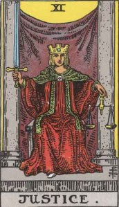 Justice (Tarot for The French Cop™). Number 11. Tarot card from the Rider-Waite-Smith deck. Published 1909. Author: Pamela Coleman Smith.