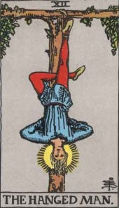 The Hanged Man (Tarot for The French Cop™). Number 12. Tarot card from the Rider-Waite-Smith deck. Published 1909. Author: Pamela Coleman Smith.