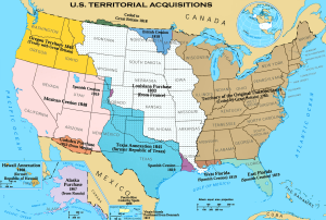 U.S. Territories were acquired, organized with citizens, republican self-government, then admitted states on equal footing.