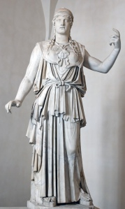 Athena of the Parthenos Athena type. Pentelic marble, Greek copy from the 1st century BC after the original from the 5th century BC. Some 17th-century restorations: arms, ends of the belt, some folds of the peplos, aegis, tip of the nose.  Artist: Antiochos (signed), copy of Phidias.