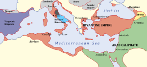 The Byzantine Empire after the Arabs conquered the provinces of Syria and Egypt.