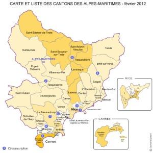 Carte des cantons des Alpes-Maritimes 2012.