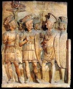 A Bas relief potraying members of the Praetorian Guard.