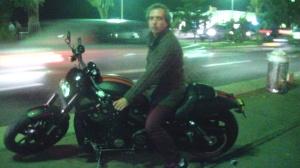 Harley Davidson is the bike of Frederic Vidal, frontman of BRAMSTOCKER, at the Hard Rock Café Nice inauguration.