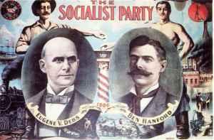 E4n Amérique, le Parti Socialiste a failli l'emporter en 1904. Il fait partie de l'histoire des Etats-Unis. Debs Poster USA 1904.