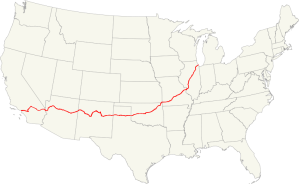 Map of former U.S. Route 66. USA map. Author: Fredddie.